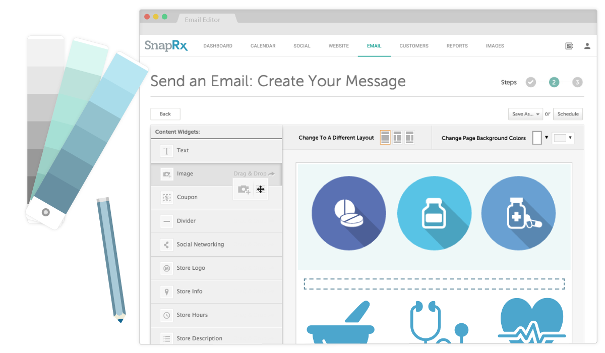 Drag-and-drop to personalize and customize your independent pharmacy email templates