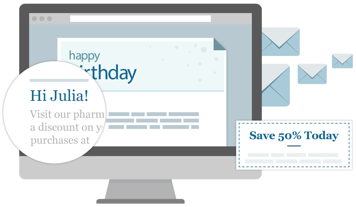 Send your pharmacy patients automated emails for birthdays, events, welcome and more!