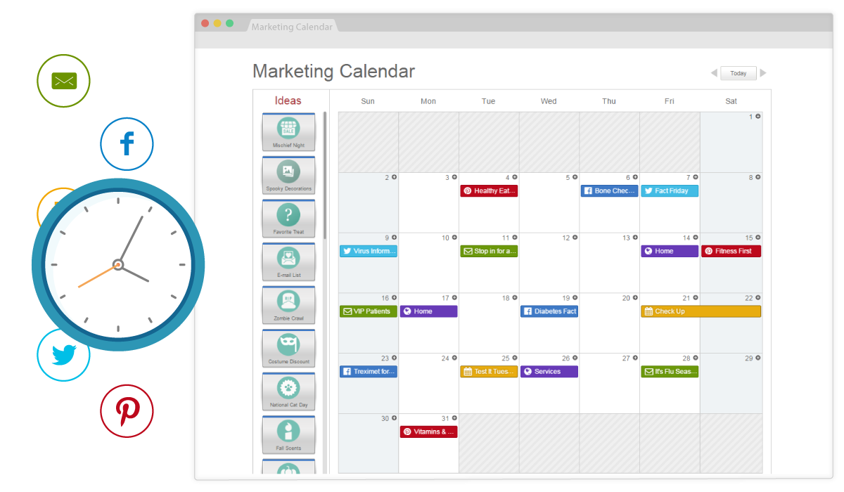 Schedule all your pharmacy social posts with SnapRx and the planning calendar.  Facebook, Twitter, Pinterest, and Store Events.