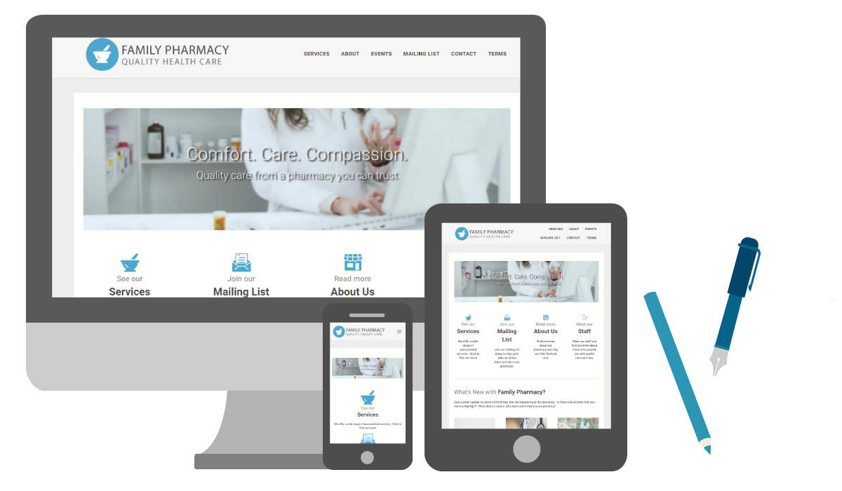 Create a fully responsive pharmacy website with SnapRx
